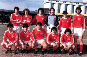 Argentinos Juniors 1985, con el logo de 7UP en el pecho.