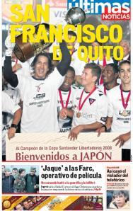 Portada de Últimas Noticias del 3 de julio, con Cevallos y Urrutia conmemorando.