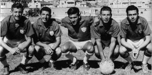 Época de gloria del España, 1960. De izq. a der. Paco Almeida, Leonardo Palacios, Edison Paucar, Marcelo Ortíz Y Rodolfo Berdiales.