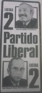 El Liberalismo, fuerza poderosa de entonces y dos candidatos de lujo al congreso: Jaime del Castillo y Raùl Clemente Huerta.