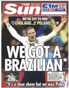 """""""Tenemos un brasileño, pero está afeitado al apuro"""" dicen sobre Rooney."""