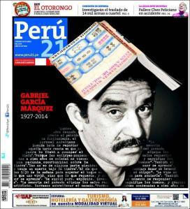 Perú 21 (Lima) tiene la que, creo yo, es la mejor portada sobre la muerte del autor.
