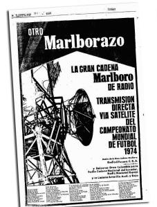 La Gran Cadena Marlboro, publicidad imposible para hoy. Fue en Alemania 1974.